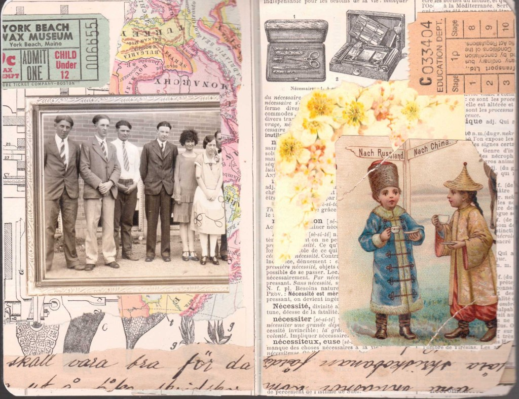 A spread of two pages collaged with vintage papers