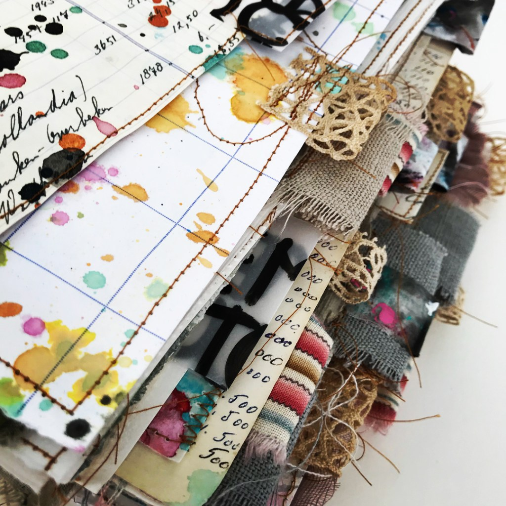 fabric tabs on journal pages