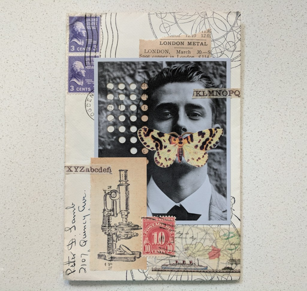 multiple pieces of paper collaged over an envelope
