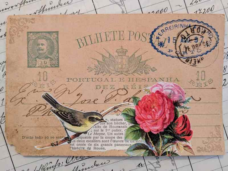 A vintage postcard from Portugal that has a small collage strategically centered in the middle to preserve the handwriting