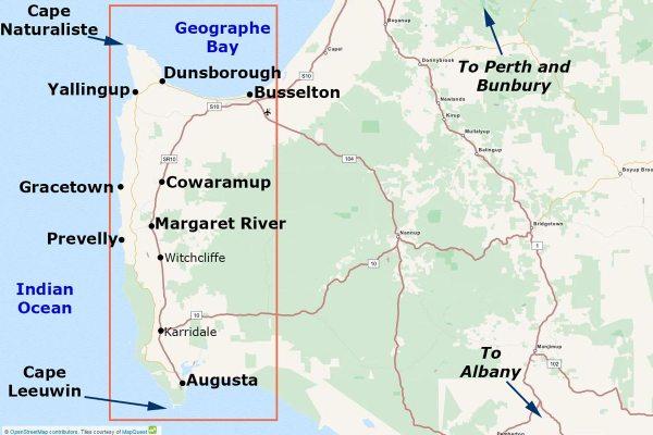 Map of the Margaret River Region