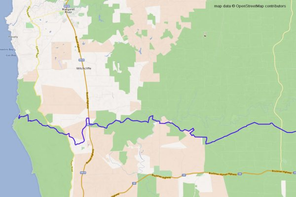 Coast to Nannup Track part 1 map