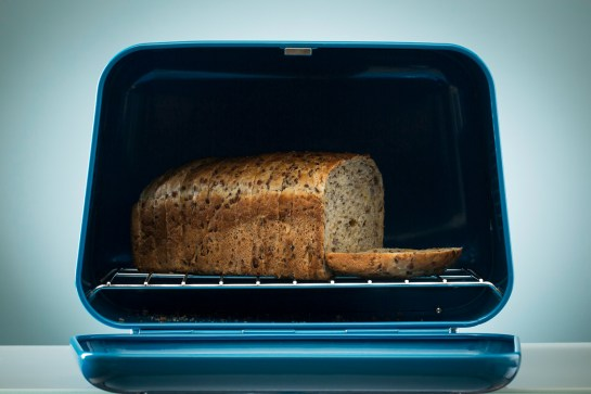 Photo: Novo teal designer bread bin by Typhoon. Studio product photography and postproduction by Margaret Yescombe London