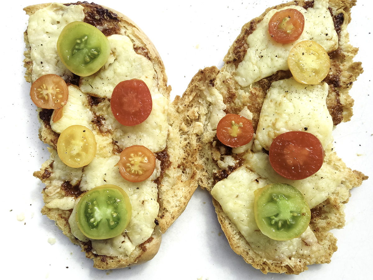 photo: by healthy vegetarian food photographer london, butterfly toast, tomatoes, pepper, white plate