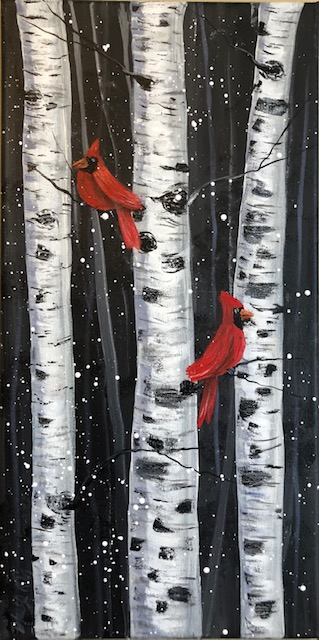 Winter Scene with Birch Trees and Cardinals