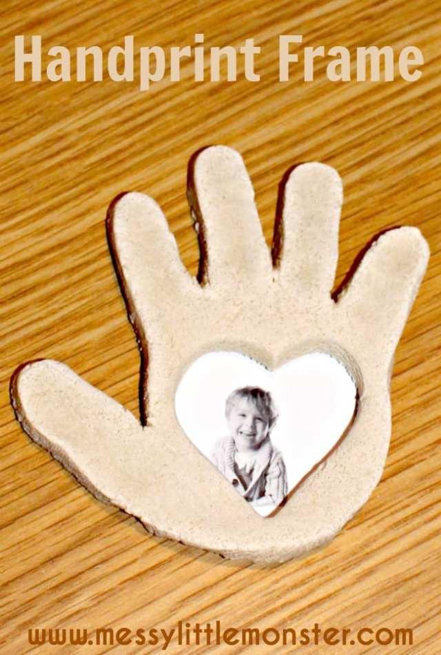a heart handprint frame