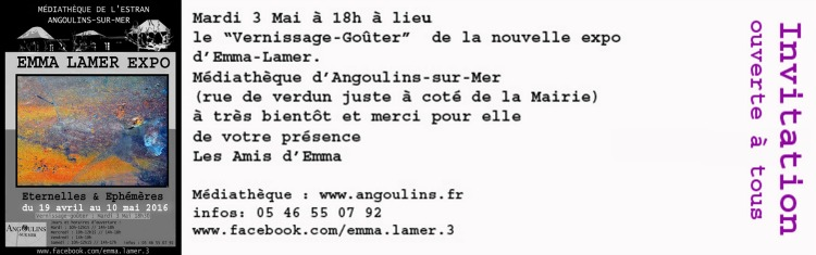 Invitation vernissage Emma Lamer Angoulins