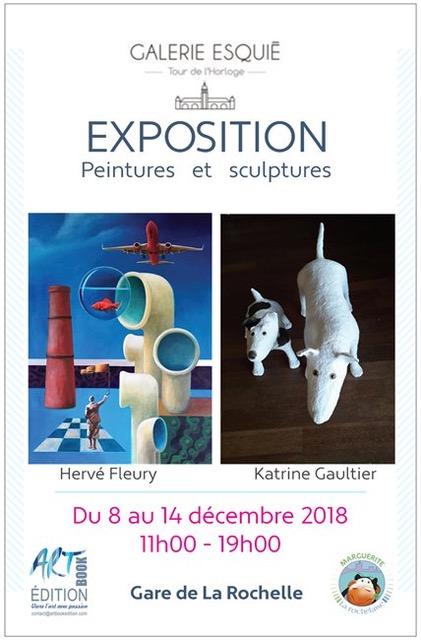 Art contemporain en gare de La Rochelle Exposition de Hervé Fleury et Karine Gaultier Galerie Esquié La Rochelle du 8 au 14 décembre 2018