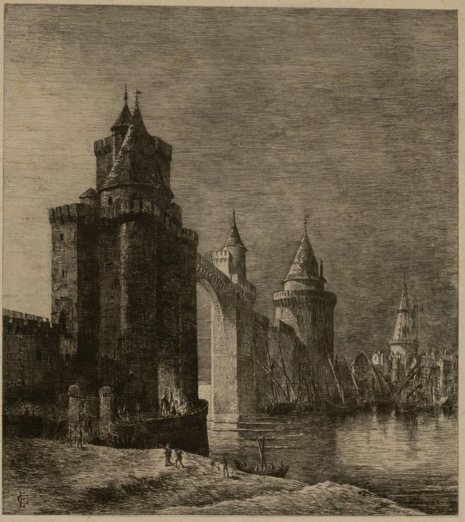 Aquarelle de Emile Couneau - La Rochelle Disparue