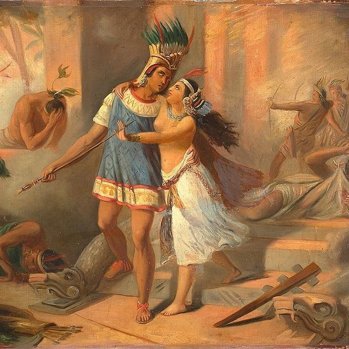 Telasco et Amazili dans l'incendie du palais de Montezuma - Anonyme 19e