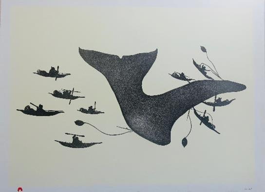 Estampe Chasse à la baleine ©Galerie Atutak, Candes-Saint-Martin