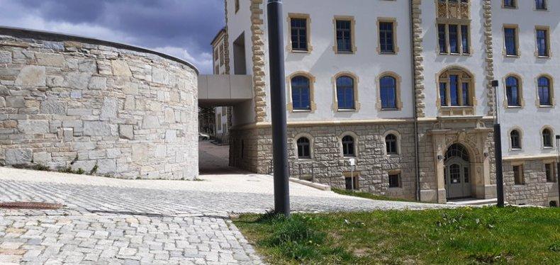 Schräge Ebene an der Aussichtsplatfrm des Schlosses Plauen