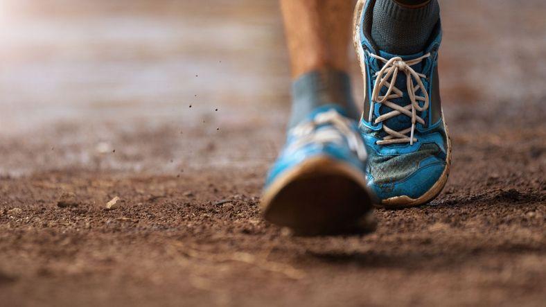 running on foot