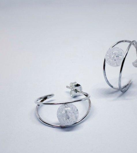 pendientes aros con cristal de roca