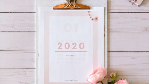 2020 minimalist calendar for free download - rose marble and gray
