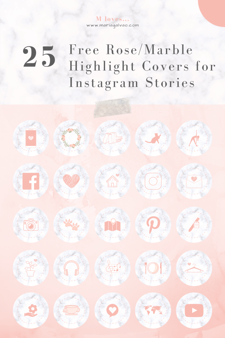 25 Free Rose-Marble Highlight Covers for Instagram Stories_Pinterest
