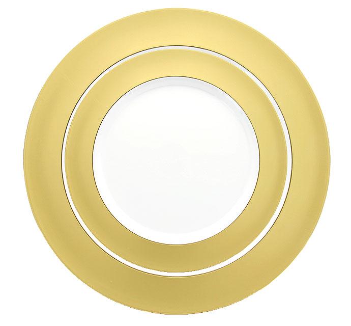 grandes assiettes rondes reutilisables dorees 26cm x6