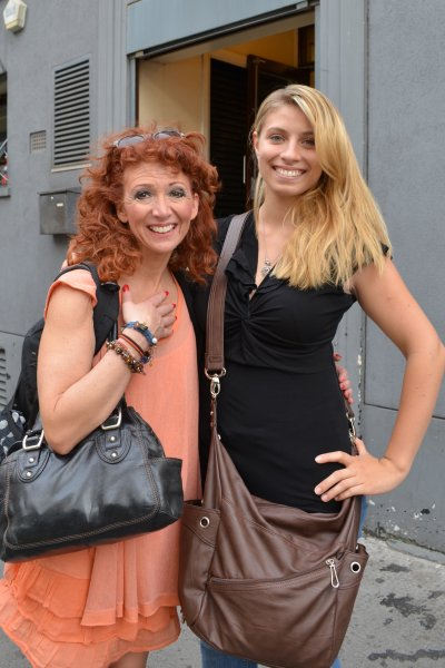 Mariah June at the stage door after the play Spamalot in West End, London, England, in 2012 with actress Bonnie Langford