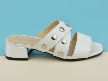 Mules chaussons nu-pied cuir mat blanc, petits talons, F2723, Brenda Zaro, petite pointure 32 33 34 35 2