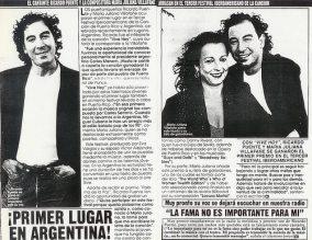 """Artículo en la revista Vea de Puerto Rico que relata el primer lugar logrado por la canción """"Vive Hoy"""" en Argentina en 1993."""