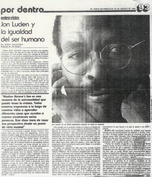 El periodista Jorge Meléndez, entrevistaa Jon Lucien, en el periódico El Nuevo Día de P.R donde éste expresa sobre su trabajo con María Juliana (25 de agosto de 1993)