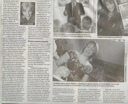 Reseña del Nuevo Herald de Miami, escrita por Olga Connor (9 de abril de 2003)