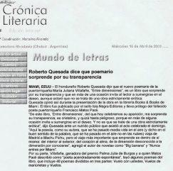 """Revista Crónica Literaria"""", Argentina (16 de abril de 2003)"""