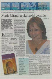 """""""María Juliana: la pluma del corazón"""" - Diario Tiempos Del Mundo, Miami (2002)"""
