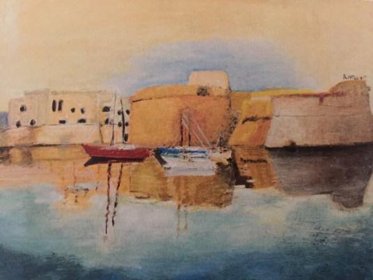 mostra personale di DONATELLA FORINO olio su tela 70x50 PORTO DI GALLIPOLI