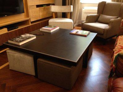 Restyling di un tavolino salotto in marrone testa di moro con cornice grigia