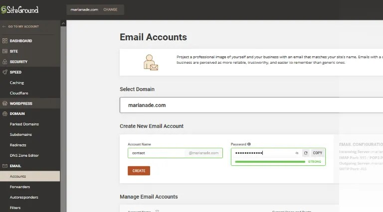 Email account creation