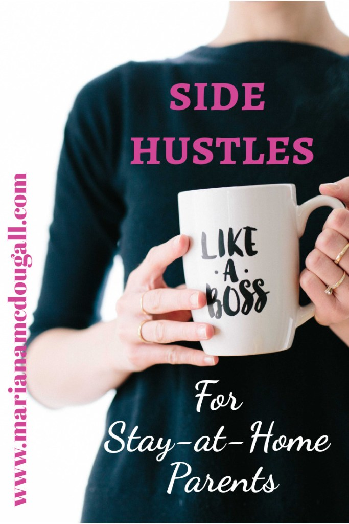 "Side Hustles for Stay-at-Home Parents, www.marianamcdougall, lady holding mug that says ""like a boss,"" Photo by Brooke Lark on Unsplash"