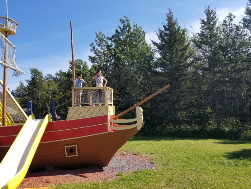 pirate ship playground in gaspe bay peninsula, quebec