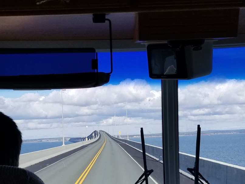 Confederation Bridge, NB-PEI. Photo taken from inside an RV; the windshield and wipers are visible in the photo.
