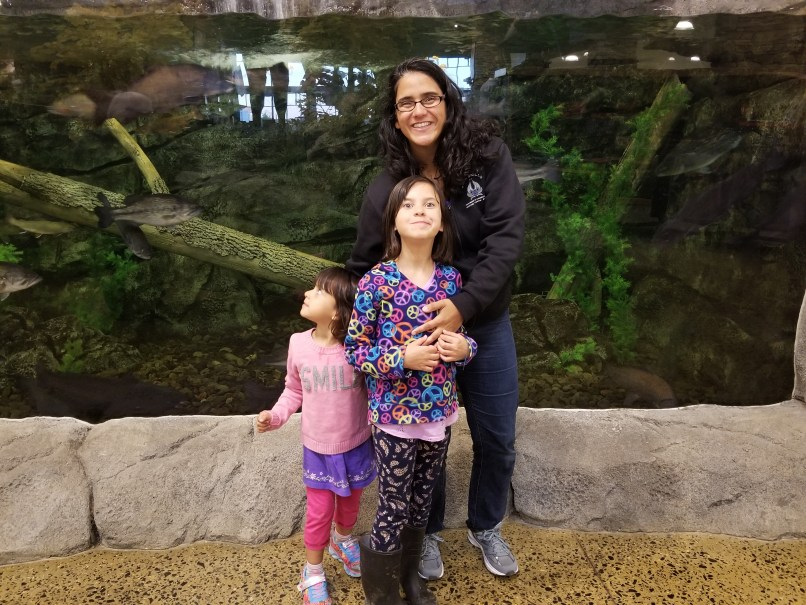 Mother and two daughters at Cabela's