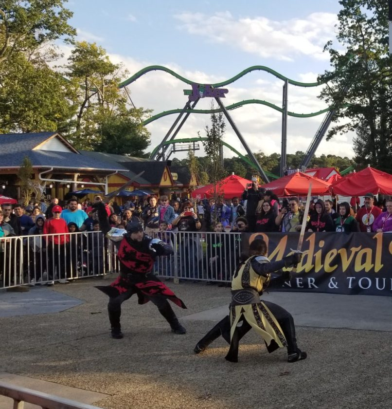 Medieval Knights Demonstration at Six Flags Great Adventure, New Jersey. Two sword fighters in action.