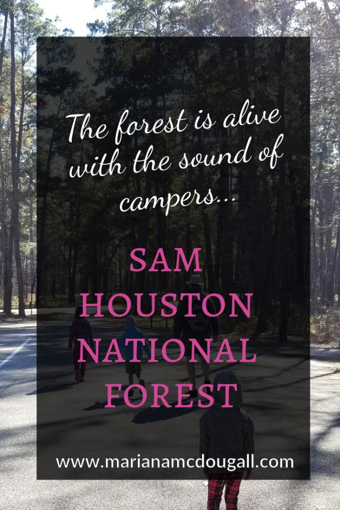 The forest is alive with the sound of campers... Sam Houston National Forest, www.marianamdougall.com, picture of father and three children walking into Sam Houston National Forest