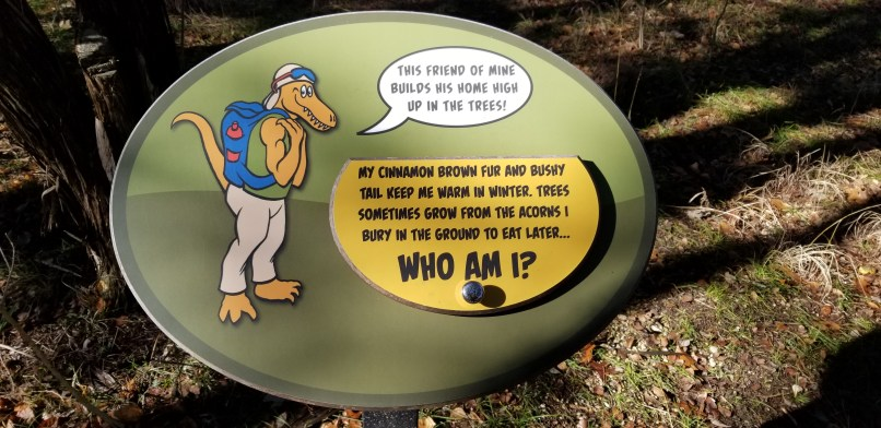 Sign at Kids' Trail at Dinosaur Valley State Park. Sign is a riddle about a squirrel.
