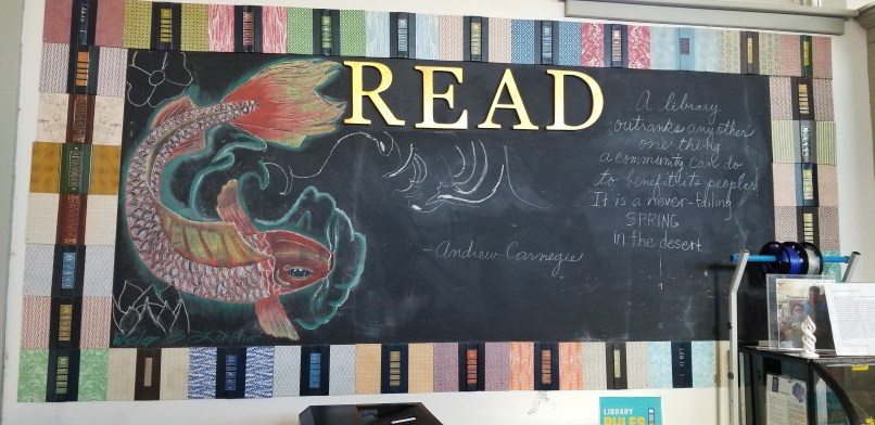 A fish drawing in coloured chalk, on display at Jeff Davis County Public Library.