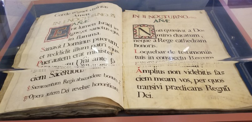 Antique bible at San Xavier del Bac mission. Large Bible handwritten in Latin.