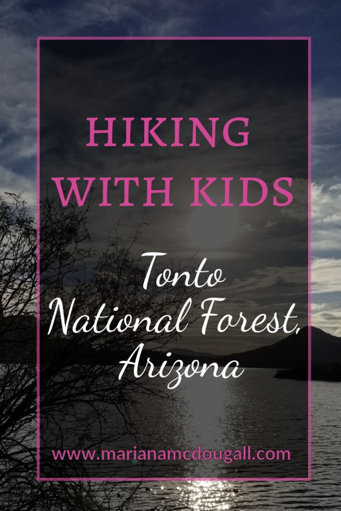 Pinterest Title Image. Pink and white letters read: Hiking with kids, Tonto National Forest, www.marianamcdougall.com. Background photo by Mariana Abeid-McDougall shows the view from one of the trails: a lake, mountains, some trees, and the sunset reflecting on the water.