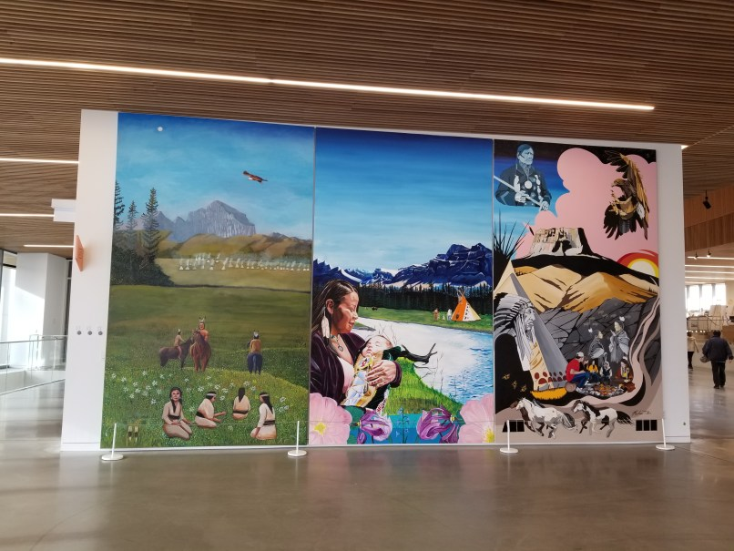 Mural Level 1 Indigenous Placemaking mural at Calgary Central Library