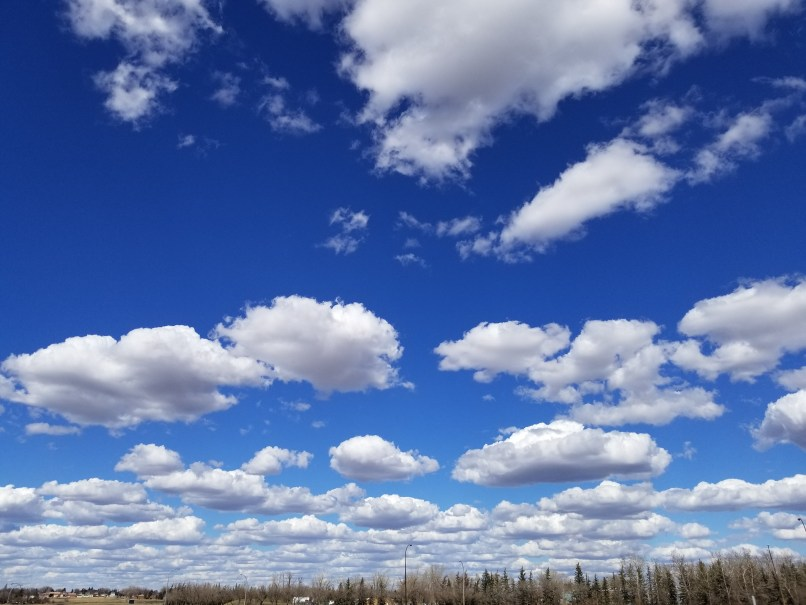 Sunny skies with some clouds in Medicine Hat, Alberta