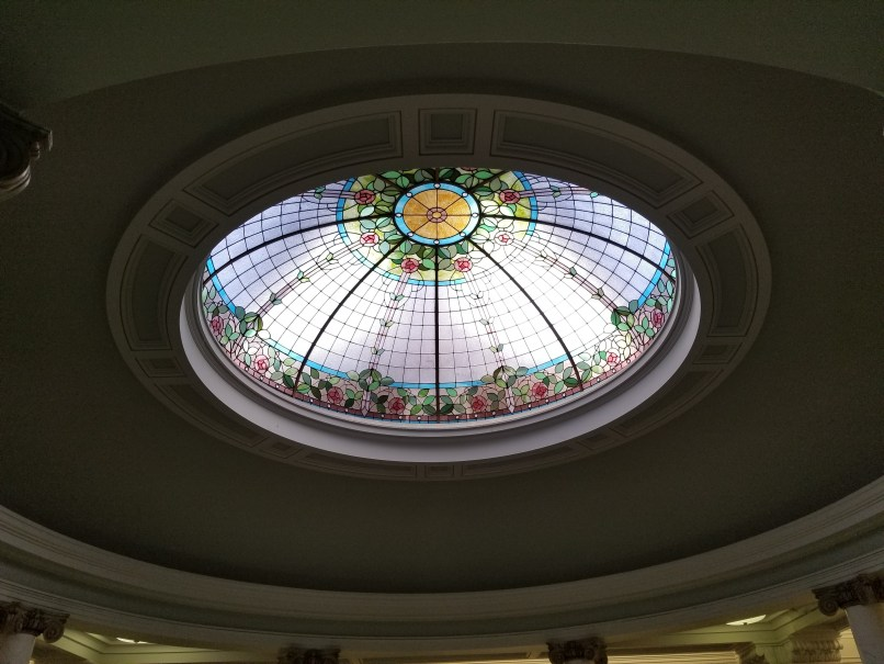 Moose Jaw Public Library Ceiling, a stained glass dome.
