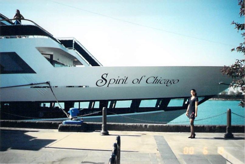 Mariana standing in front of the ship, Spirit of Chicago, in June of 2000.