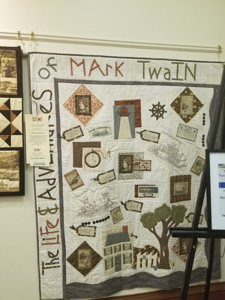 Quilt celebrating the work of Mark Twain and presented at the Hannibal Bicentennial Quilt exhibition