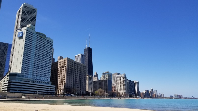 Chicago buildings against Ohio Street Beach