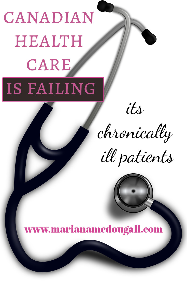 Canadian health care is failing its chronically ill patients. www.marianamcdougall.com. Picture of a stethoscope against a white background.