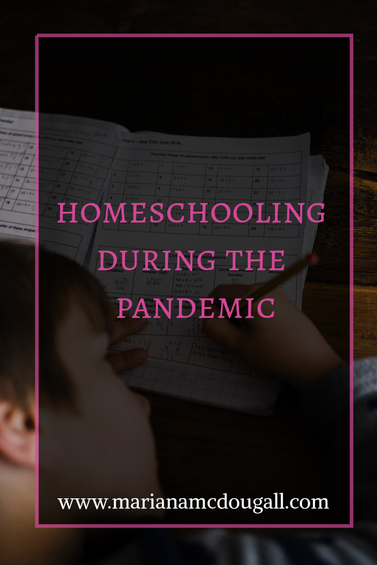 Homeschooling During the Pandemic, www.marianamcdougall.com. Background photo of a boy doing homework by Annie Spratt on Unsplash