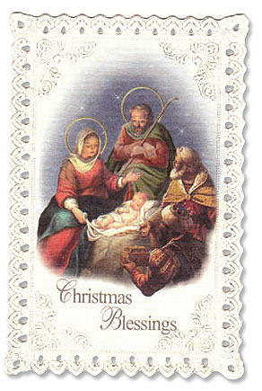 Nativity Christmas Lace Holy Card